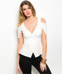 Ivory Gold Off Shoulder Low Cut Top $16.50   Chic and Feminine, this top is perfect for any occasion. The low  neckline showcases your curves and features a pearl inset panel  (removable) that mimics a necklace for added elegance. The off shoulder  design is slightly stretchy for a form fitting impact. Fabric:  Polyester/Spandex