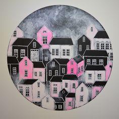 """""""Pink Energy City"""", acrylic painting by Hammi´s Design Pinkkiä energiaa sisustukseen <3 Akryylimaalaus pyöreällä hdf-levyllä  #houses #talot #pink #pink #sisustusmaalaus #maalaus #painting #interior #hammisdesign Paintings, Design, Paint, Painting Art, Painting, Painted Canvas, Drawings, Grimm"""