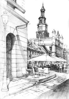 Old Market and City Hall in Poznan by Łukasz Gać - Architectural drawings of historic buildings www-designstack-co City Drawing, Drawing Sketches, Pencil Drawings, Sketch Art, Pencil Art, Drawing Ideas, Building Drawing, Building Sketch, City Sketch