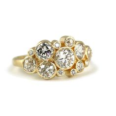 Megan Thorne - Style Dewdrop Cluster Yellow Gold Engagement Ring with Round-Cut Diamonds Round Cut Engagement Rings, Beautiful Engagement Rings, Beautiful Rings, Halo Engagement, Baguette, Diamond Cluster Ring, Solitaire Diamond, Or Antique, Wedding Jewelry