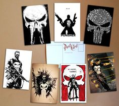 The Punisher Set of 7 postcards Marvel от PaperBunnyWorkshop #postcards #geek #art #sale #buy #poster #prints #photo #paintings