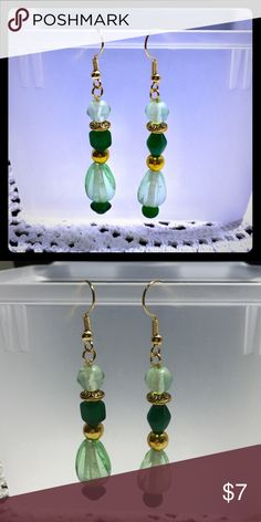 Glass earrings handcrafted by me! Glass earrings handcrafted by me! Glass and Tibetan gold on gold wire. Jewelry Earrings