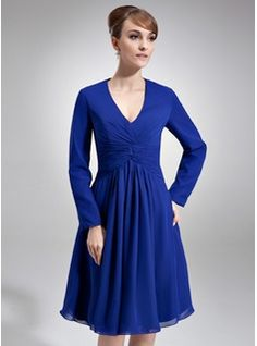 Special Occasion Dresses - $126.99 - A-Line/Princess V-neck Knee-Length Chiffon Kate Middleton Style With Ruffle  http://www.dressfirst.com/A-Line-Princess-V-Neck-Knee-Length-Chiffon-Kate-Middleton-Style-With-Ruffle-044020782-g20782
