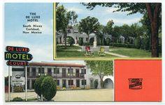 De Luxe Motel Carlsbad New Mexico linen postcard