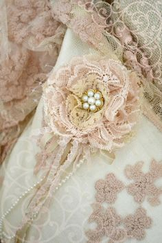 By~Jennelise ~ Beautiful Lace Pillow~Embellished with a Handmade Flower, Love~❥