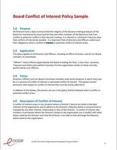 corporate conflict of interest policy template conflict of interest policy pinterest template