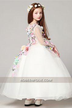 3ab4f01c6acf8 Robe de mariée longue pour jeune fille de style princier…   robe petite princesse  robe fille princesse Mode