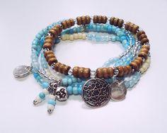 DREAMER: Multistrand Boho Gypsy Hippie Beaded Stacking Stretch Bracelet Set
