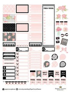 Black and Blush Printable Planner Stickers/Erin Condren Planner Stickers/Weekly…