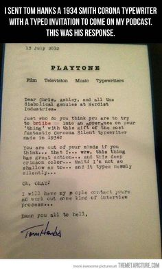 Tom Hanks 1934 Smith Carona typewriter letter Perfect sentiments to go with the new app!