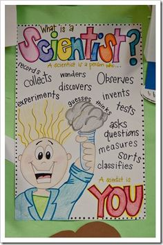 What is a Scientist? Anchor Chart  http://thefirstgradeparade.blogspot.com/search/label/printable