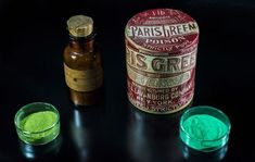 Scheele's Green (copper arsenite, left) and Paris Green (copper acetoarsenite, right) Paris Green, Green Gloves, Green Copper, Victorian Era, My Favorite Color, Shades Of Green, Green Colors, Colours, Whiskey Bottle