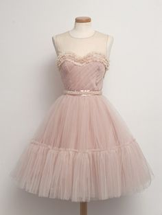 dress 50s pink candy pearls bridal ruffles prom dress vintage dress 50s fashion tulle dress powder pink retro dress