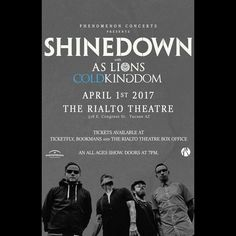 Tucson AZ! It's your turn to see #Shinedown at The Rialto Theatre. Sold out show! Who's going?!   Barry Kerch Brent Smith Eric Bass Shinedown Shinedown Nation Shinedowns Nation Zach Myers