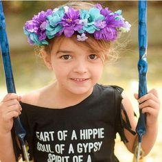 Boho baby crown / flowercrown / toddler flower crown / flowerchild / flowergirl / teal and purple crown