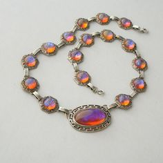 Art Deco Glass Necklace  Rare Dragons Breath Jelly Opal by pinguim, $360.00