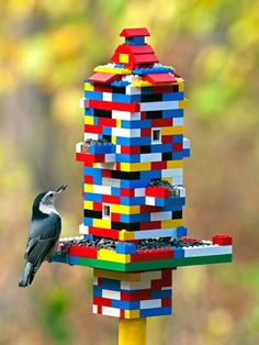 This is now on the spring to-do list!  - LEGO bird feeder combines love of birds and bricks! | Inhabitots