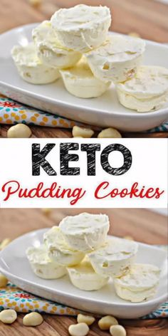 3 Ingredient Keto White Chocolate Macadamia Nut Pudding Ice Cream Cookies – The BEST Low Carb Flourless Keto Cookies {Easy – No Bake Fat Bomb} - Desserts Desserts Keto, Keto Snacks, Easy Desserts, Dessert Recipes, Desserts Nutella, Snacks Recipes, Beef Recipes, Keto Cookies, Keto Pudding