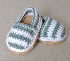 CROCHET Baby Shoes PATTERN for cute little Stripy Espadrille Shoes for Baby. This listing is for a CROCHET PATTERN and NOT a finished item. Make these lovely little espadrille shoes in no time with this easy-to follow-crochet pattern - written for intermediate beginners who are used to
