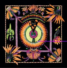 Brazil Hermès Silk Scarf: Shades of Black, Orange, Purple | Vintage Carré | @Vintage Carré | www.vintagecarre.com