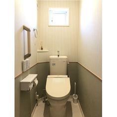 ストライプの壁紙/ストライプ/アクセントクロス/グリーン/トイレ/バス/トイレ…などのインテリア実例 - 2018-01-18 09:32:33 | RoomClip(ルームクリップ)