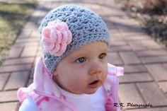 Flowered Baby  Crochet Hat. photography prop, girls hat, crochet hat. $15.00, via Etsy.