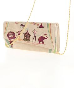 This Tan & Maroon 'Circus Obsession' Envelope Clutch is perfect! #zulilyfinds