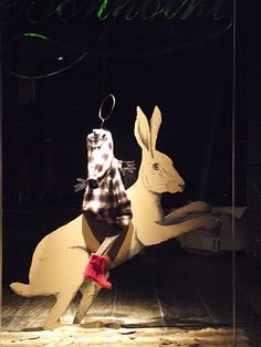 Bonpoint Window setting by Justine Bazus. Rabbit by Clemence & Clement Retail Windows, Store Windows, Shop Window Displays, Kids Store, Red Hats, Window Shopping, Visual Merchandising, Bold Colors, Rabbits