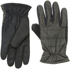 Isotoner Mens Smartouch Brushed Tweed Glove Black XLarge *** Visit the image link more details.