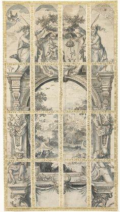 David Vinckboons   Moses and the Burning Bush, David Vinckboons, c. 1609 - c. 1611   Mozes zittend bij het brandende braambos trekt zijn sandalen uit. Centrale voorstelling in een ontwerp voor een kerkraam in de Amsterdamse Zuiderkerk, geschonken door het gilde van huidenkopers, schoenmakers en leerlooiers. Links en rechts hermen met schoenmakers- en leerlooiersgereedschap en onderaan links een schoenmaker en rechts een leerlooier. Bovenaan een blazoen met een man die een huid uitspreidt om…