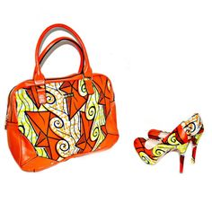 Orange And Yellow African Ankara Print Luxury Heels & Tote Savings Set ,African Bag And Shoes Set - Bridesmaids Gift Set, Christmas Gift Set by ZabbaDesigns on Etsy https://www.etsy.com/listing/209556814/orange-and-yellow-african-ankara-print