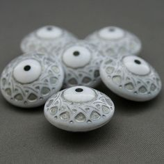 18mm Vintage Lucite Carved White Silver Round Saucer Beads - Reduction Nation (US) - 10/$4.00