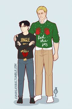 """erurilicious: """" Feel the joy, Christmas boy. 🙌 Took me 4 years in the fandom to finally join this Christmas tradition of drawing your favs in ugly xmas sweaters. I googled for couples Christmas..."""