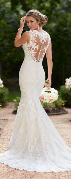 a dream style for the bride in search of a modern yet glamorous gown, this backless wedding dress from stella york is everything you could want! White Lace Wedding Dress, Backless Wedding, Fall Wedding Dresses, Elegant Wedding Dress, Wedding Dress Styles, Wedding Gowns, Wedding Ceremony, Spring Wedding, Wedding Rings