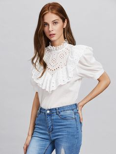 Eyelet Embroidered Frill Trim Puff Sleeve Blouse delicate and affordable fashion Classy Outfits, Beautiful Outfits, Casual Outfits, 70s Fashion, Fashion Outfits, Womens Fashion, Blouse Styles, Blouse Designs, Estilo Lolita
