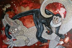 "Original ""Monkey's Tale"" painting by Lynnette Shelley Original Artwork, Original Paintings, Monkey Art, Wildlife Art, Painting & Drawing, Mythology, Fantasy Art, Cool Art, Fine Art"