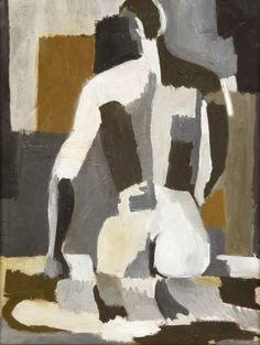 "thunderstruck9: "" Henryk Berlewi (Polish, 1894-1967), Homme nu, gris [Male nude, grey], c1930. Oil on canvas, 34 x 26 cm. """
