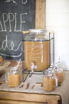 Apple Cider Bar & Fall Dining Room | Find inspiration for fall entertaining with this simply decorated dining room, including an apple cider bar! #applecider #apple #fall #entertaining