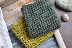 Opskrifter på karklude, strikkede og hæklede karklude Crochet Home, Diy Crochet, Washing Clothes, Pot Holders, Needlework, Projects To Try, Knitting, Creative, Crafts