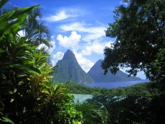 The Pitons of St. Lucia. Somewhere, I have a picture of me in this very spot from our Honeymoon!