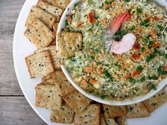 You seriously NEED some of this in your life! Hot & Cheesy Seafood Spinach Dip