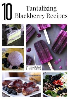 10 Tantalizing Blackberry Recipes including blackberry smoothie recipes, blackberry BBQ sauce, blackberry desserts, and tips on how to freeze blackberries.