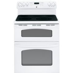 GE 30-in Smooth Surface 5-Element 2.2 cu ft/4.4 cu ft Double Oven Electric Range (White)