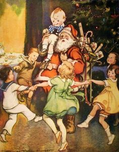 """Santa Claus"" (Date unknown), by American artist and illustrator - Frances Tipton Hunter (1896-1957), Watercolor, Dimensions unknown, Owner/Location unknown."