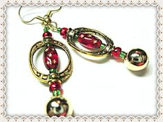 Red Christmas Earrings~Women's Earrings~Red Oblong Bead With Gold Stars~Green And Gold Accents