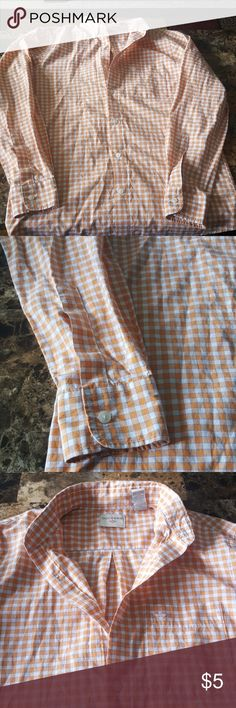 Dockers Orange Shirt Dress shirt, orange and white squares slight blue lines. In excellent condition,  long sleeve Shirts Dress Shirts