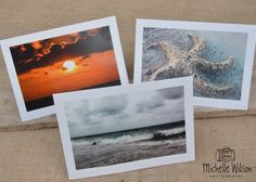 Beach Days Card Pack... 3 cards...Storms Brewing, Coastal Sunset and Sand Starfish...Fine Art Photography Greeting Cards