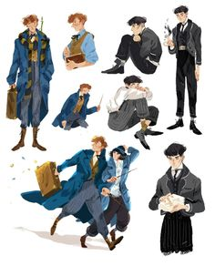 Fantastic Beasts and Where to Find Them Fanart, Newt Scamander, Tina Goldstein, Credence Arte Do Harry Potter, Harry Potter Drawings, Harry Potter Universal, Harry Potter Fandom, Harry Potter World, Hogwarts, Scorpius And Rose, Desenhos Harry Potter, Fantastic Beasts And Where