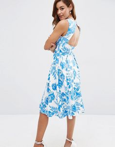 Image 1 of ASOS Cut Out Back Midi Dress in Blue Floral Print