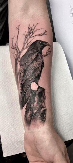 Hugin And Munin Tattoo Raven And Wolf Tattoo Designs Hugin Munin Tattoo Raven Tattoos Gallery Wolf Tattoo Design, Wing Tattoo Designs, Crow Tattoo For Men, Black Crow Tattoos, Bird Tattoo Men, Black Bird Tattoo, Forearm Tattoos, Body Art Tattoos, Sleeve Tattoos
